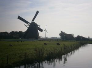 Old Mill New Mill Friesland Nederland Nieuwe molen oude molen netherlands