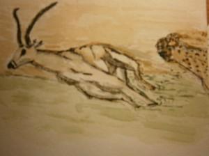 Paintings gazelle leopard luipaard waterverf schilderij