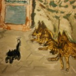 Paintings courageous cat moedige kat waterverf schilderij