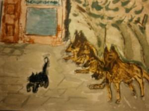 Paintings courageous cat moedige kat waterverf schilderij