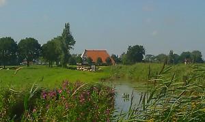 Farmhouse typical dutch scenery boerderij Friesland
