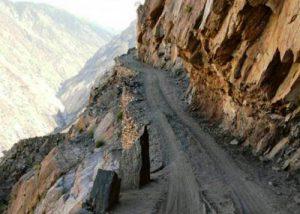 Tibet steep river valey canyon